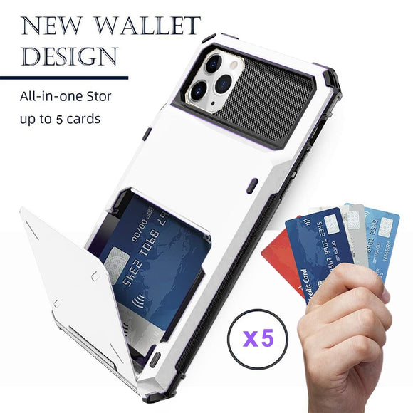 Vintage Armor Slide Wallet Cards Holder Pocket Phone Case For iPhone 12 11 Pro Max