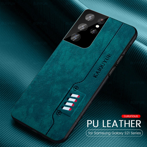 Leather Texture Back Cover Soft Silicone Frame Shockproof Case for Samsung Galaxy S21 S20 Series