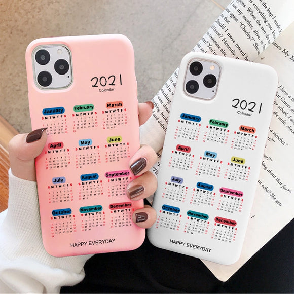2021 Calendar Soft Matte Case for iPhone 12 11 Pro Max