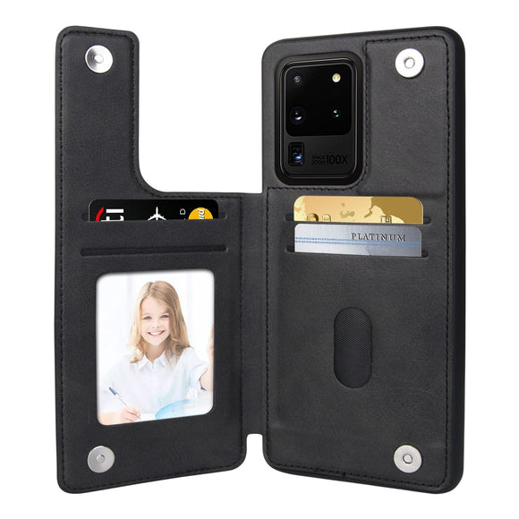 Leather Card Slot Flip Wallet Case for Samsung Galaxy S21 Ultra