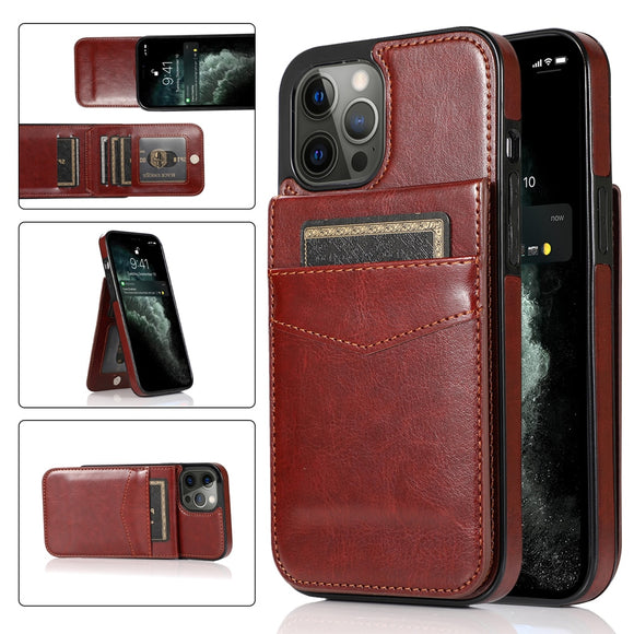 2021 NEW Vertical Leather Flip Cover Card Holder Case For iPhone 12 Series
