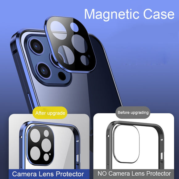 360 Metal Bumper Tempered Glass Magnetic Case Camera Lens Protector For iPhone 12 11 Series