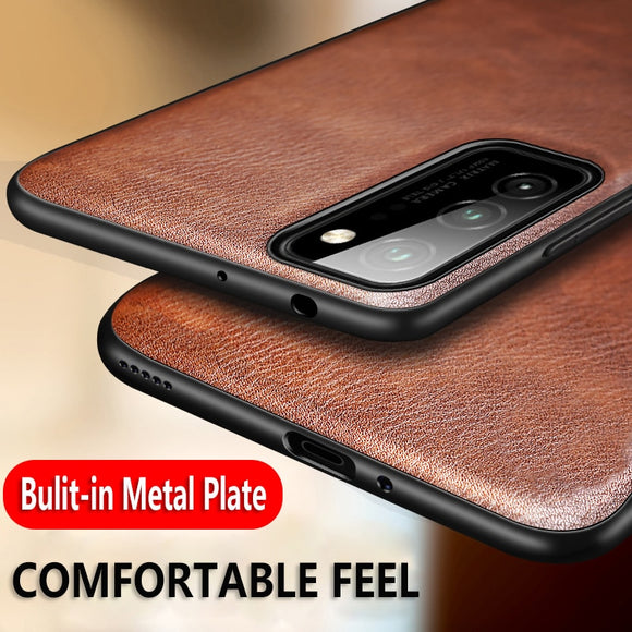 Retro Leather Soft TPU Edge Back Cover Leather Magnetic Car Case for Galaxy S20 Series