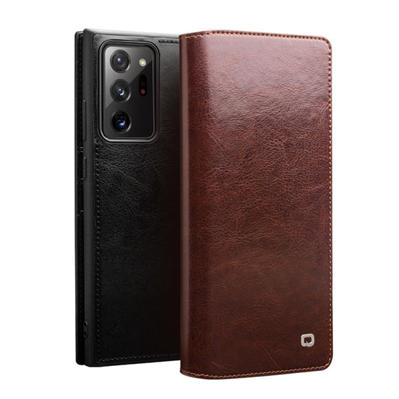 Luxury Handmade Genuine Leather Flip Wallet Phone Case for Samsung Galaxy Note 20 Series