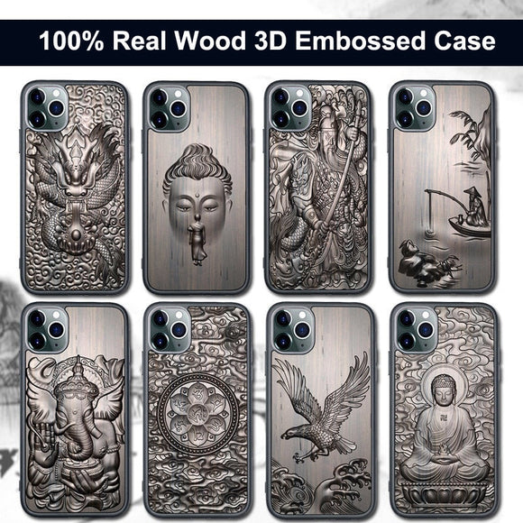 3D Relief Embossed Wolf Tiger Fish Sandalwood Case for iPhone 12 & 11 Series