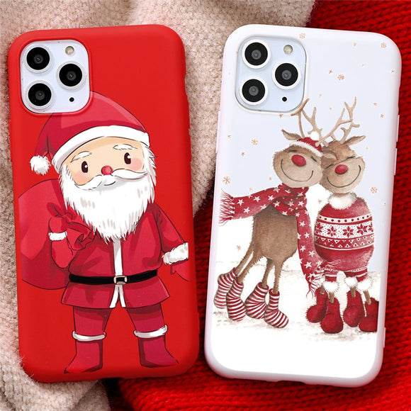 New Christmas Deer Santa Claus Phone Case For iPhone 12 Series