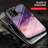 Starry Pattern Tempered Glass Silicone Frame Back Cover Case for Note 20 Series