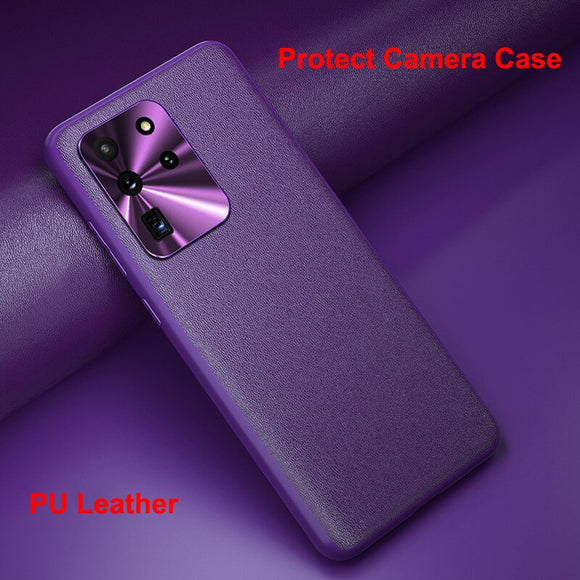 Camera Metal Protector PU Leather Soft Antiknock Cover for Galaxy S20 Series