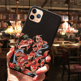 3D Drawing Embossed Pattern Carp Soft Anti fall Cover for iPhone 11 Series