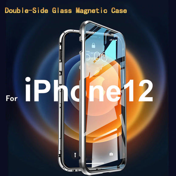 Tempered Glass Full Cover Magnetic Protective Flip Phone Case For iPhone 12 Series