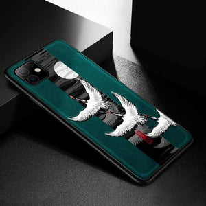 Crane Pattern Embossed Shockproof Case for iPhone 11 iPhone 11 Pro/Max