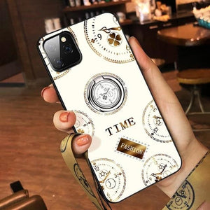 Luxury Diamond Finger Ring Magnet Clear Soft Slim Bling Back Cover Case for iPhone 11 Pro Max
