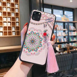 Embossed Lanyard Retro Style Palace Tassel Case for iPhone 11 Pro Max X XS XS Max XR