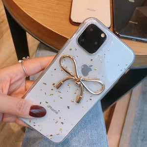 Gold Foil Epoxy Transparent High Quality Ultra-thin Protective Shockproof Case For iPhone 11 Pro Max
