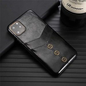 Retro PU Leather Case With Card Pocket Back Cover For iPhone 11 Pro Max