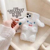 Hot Luxury 3D Cartoon Plush Melody Cinnamoroll Dog Doll Soft Silicon Case for iphone 11 Pro Max