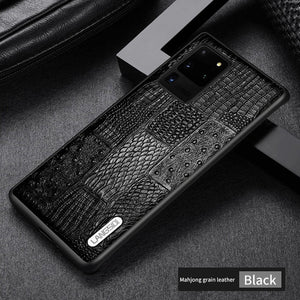 Retro Splice Genuine Leather Phone Case For Samsung Galaxy S20 Series
