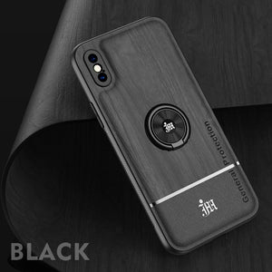 Luxury Car Magnetic Ring Holder Camera Lens Protection PU Leather Phone Case For iPhone X XR XS Max