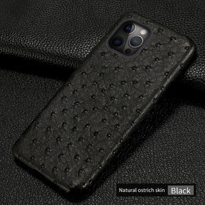 Real Ostrich Leather Case For iPhone 12 & 11 Series