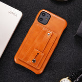 Leather Slim Telescopic Card Holder Half Pack Back Cover Case for iPhone 11 & 12 Pro Max