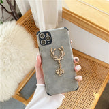 Leather Flash Elk Rhinestone Pattern Phone Case For iPhone 12 11 XS Series