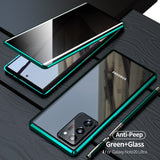 Metal Magnetic Privacy Glass Anti-peeping 360 Full Cover Case for Samsung Galaxy Note 20 Series