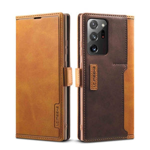 Vintage Leather Wallet Case Magnetic TPU Back Cover Case for Samsung Galaxy Note 20 & S20 Series