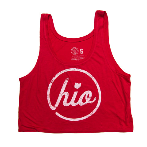 WOMEN'S CIRCLE OHIO RED CROP TOP TANK / RED