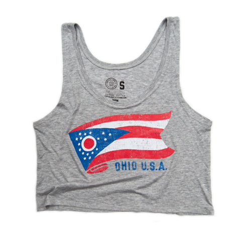 WOMEN'S OHIO FLAG CROP TANK