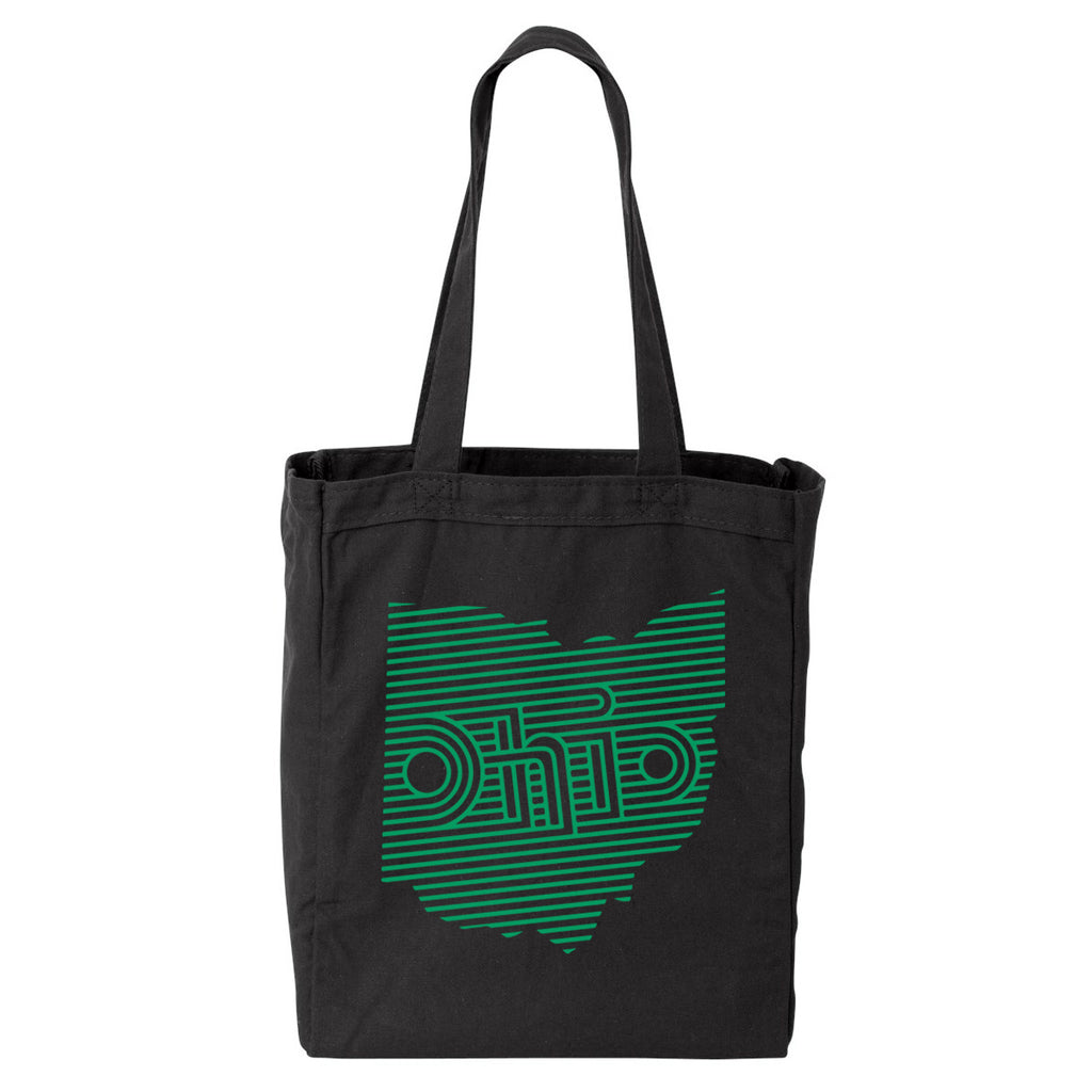 OHIO RETRO LINES / TOTE BAG - BLACK/GREEN