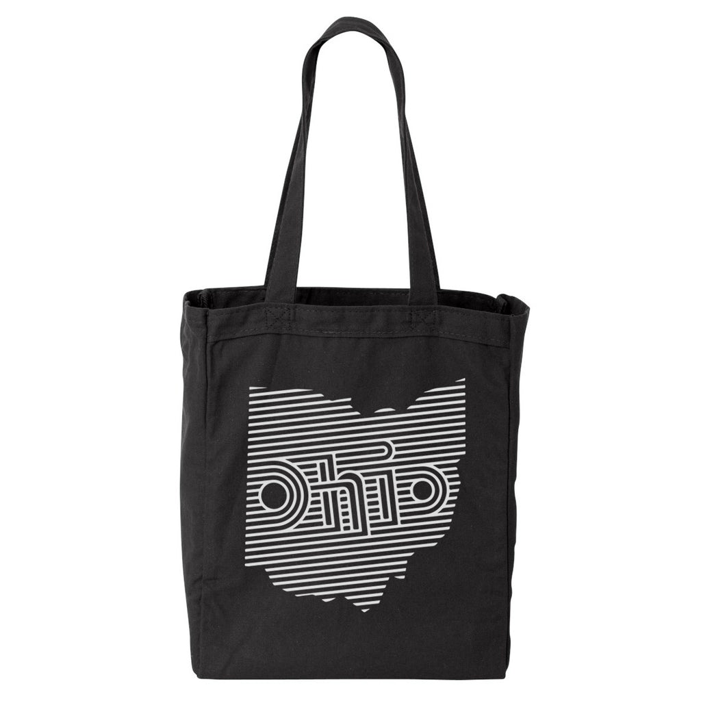 OHIO RETRO LINES / TOTE BAG - BLACK/WHITE