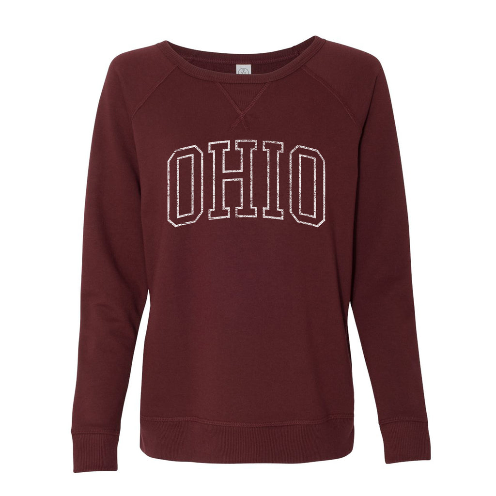 VINTAGE OHIO FRENCH TERRY PULLOVER SWEATSHIRT / MAROON