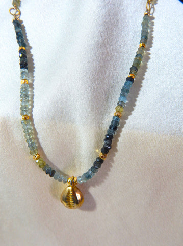 Aquamarine Gold shell necklace
