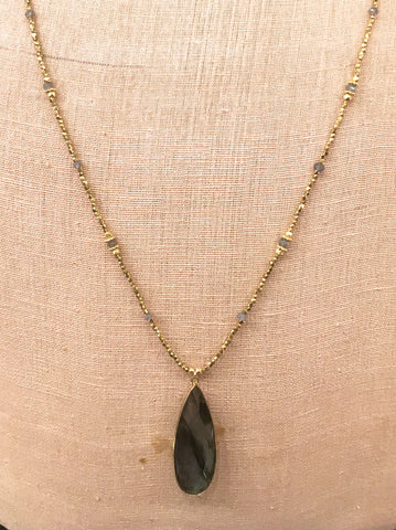 Lababorite Long Pear Necklace