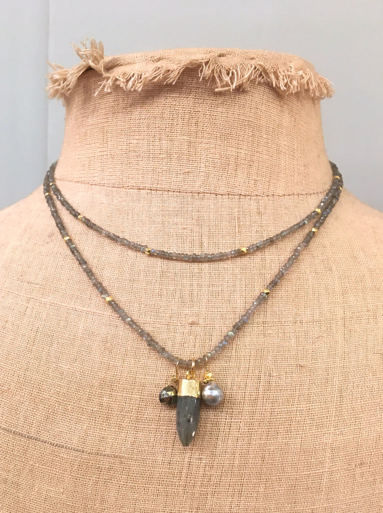 Labradorite 2 Strand Gold Necklace