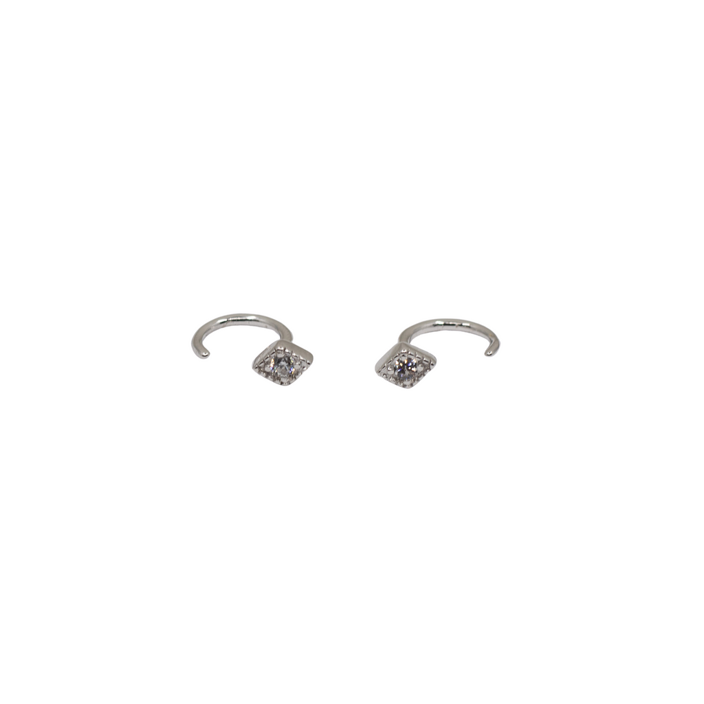 Silver Diamond-Shape Hook Earrings