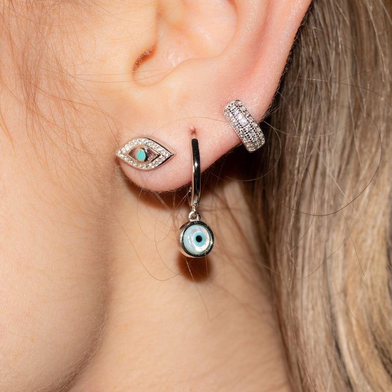Set of 6 Silver Evil Eye Earrings With Turquoise