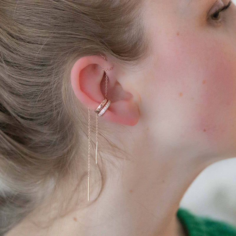 Rose Gold Ultra Long Threader Earring