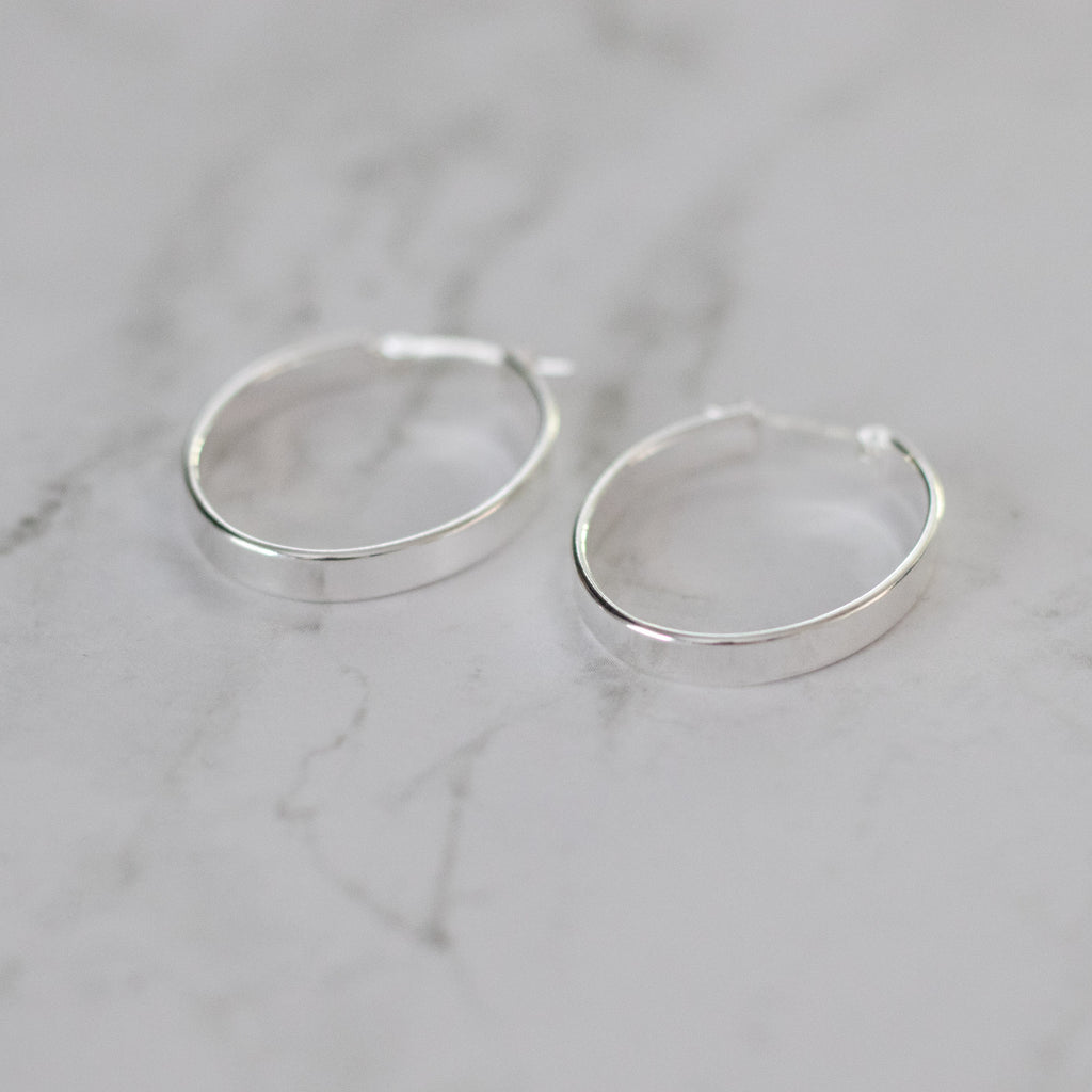 Sterling Silver Hollow Oval Hoops