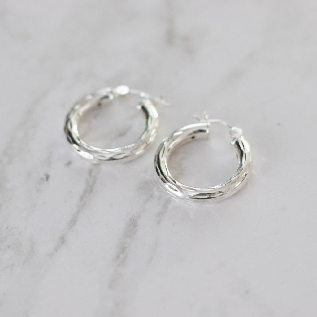 Sterling Silver Diamond Cut Hollow Hoops