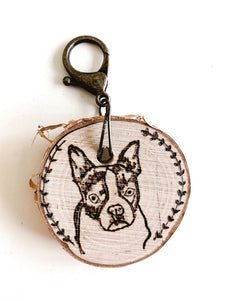 custom hand-burned pet portrait birchwood keychain
