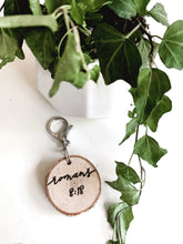 Load image into Gallery viewer, custom hand-burned birchwood keychain