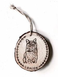 custom hand-burned pet portrait ornament