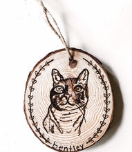 Load image into Gallery viewer, custom hand-burned pet portrait ornament