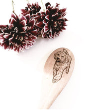 Load image into Gallery viewer, custom hand-burned pet portrait functional wooden spoon
