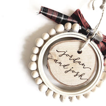 Load image into Gallery viewer, custom hand-burned wooden hoop & beads birchwood ornament