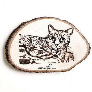 custom hand-burned cat portrait