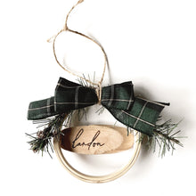 Load image into Gallery viewer, custom hand-burned wooden hoop & driftwood ornament