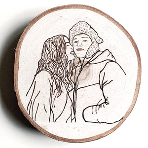 custom portrait hand-burned birch round