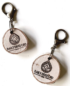 custom hand-burned birchwood keychain